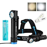 Olight H2R NOVA 2300 Lumens CREE XHP50 LED 18650 Rechargeable Flashlight / Headlamp with Head Strap and Mount,Battery,Magnetic Charging Cable,with SKYBEN USB Light (Neutral White)