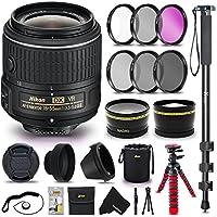 Nikon AF-P DX NIKKOR 18-55mm f/3.5-5.6G VR Lens for Nikon DSLR Cameras + 55mm Lens Filter Accessories Bundle Kit (UV FLD CPL ND) + 58mm Wide Angle / Telephoto Lens + Monopod + Flexible Tripod + More