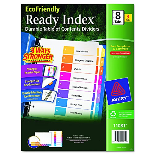 Avery EcoFriendly Contents Dividers 11081