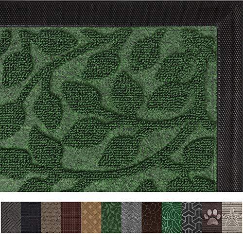Gorilla Grip Original Durable Rubber Door Mat (35 x 23) Heavy Duty Doormat for Indoor Outdoor, Waterproof, Easy Clean, Low-Profile Rug Mats for Entry, Patio, High Traffic Areas (Green Leaves) ()
