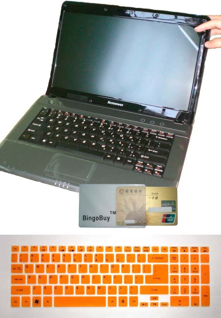 US Layout Keyboard Skin Cover + 15.6'' anti glare Screen Protector for Acer Aspire E1-510 E5-511 ES1-512 ES1-531 E5-511P E5-521 E5-521G E1-522 E1-530 E5-531 E1-532 E1-532P(semi-orange keyboard skin)