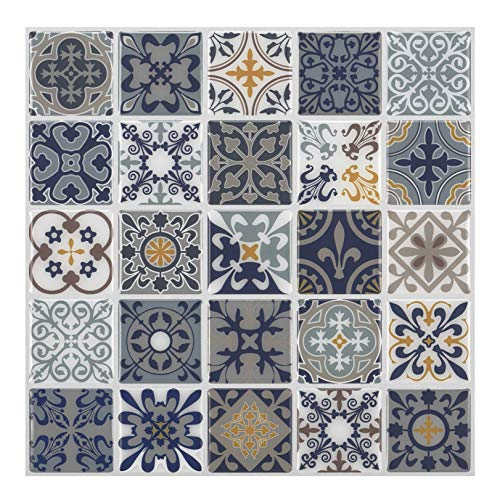 - Premium Anti Mold Peel and Stick Wall Tile Backsplash in Moroccan & Portuguese Design (Moroccan Rano, 10)