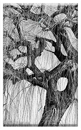 (Single-Gang Blank Wall Plate Cover - Tree Willow Winter Crow Bird Black And White Mood)