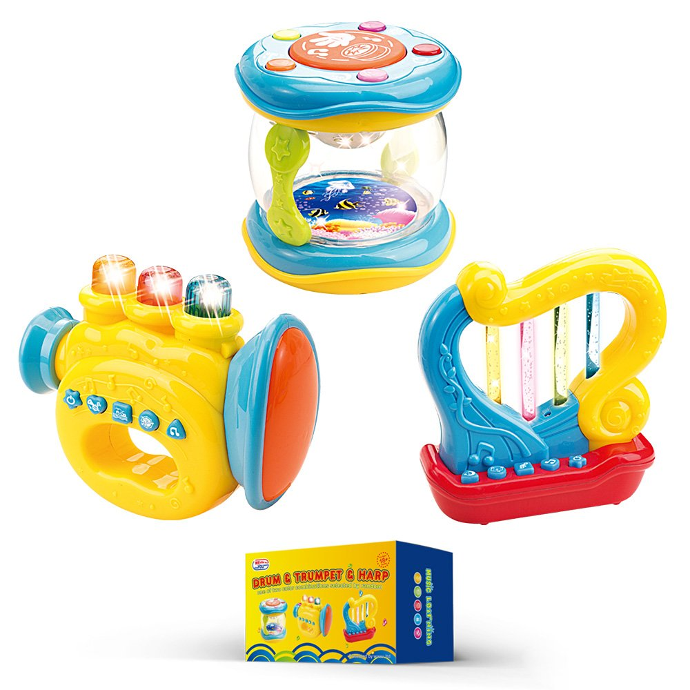 WEofferwhatYOUwant Musical Instruments for Baby Learning and Entertainment - Set of 3 Trumpet, Drum, Harp Music Toys with Batteries
