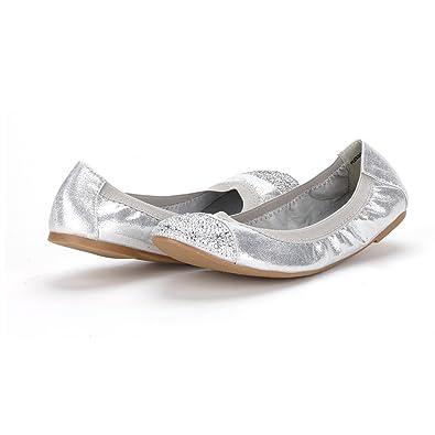 Amazon.com | DREAM PAIRS FLEXSOLE New Women's Flexible Rhinestones Toe  Ballet Flats Comfortable Lady Elastic Ballerina Shoes Silver Size 5 | Flats