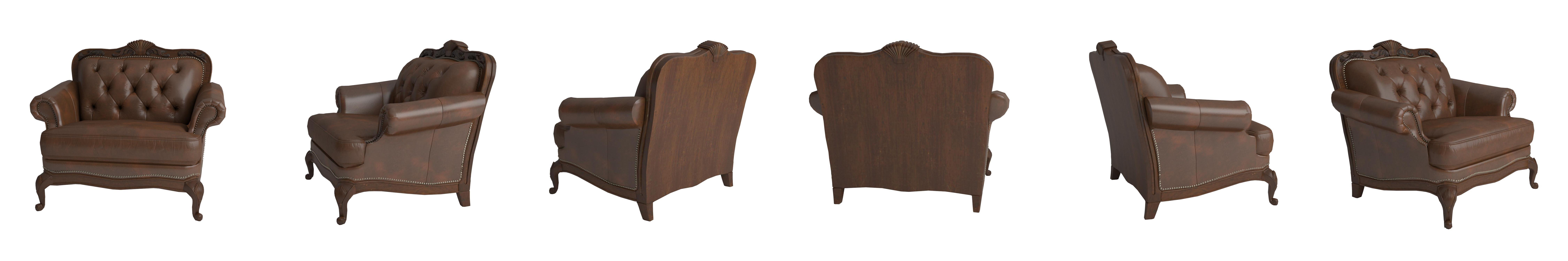 Amazon Chair Button Tufted Nail Head Trim Tri Tone Leather