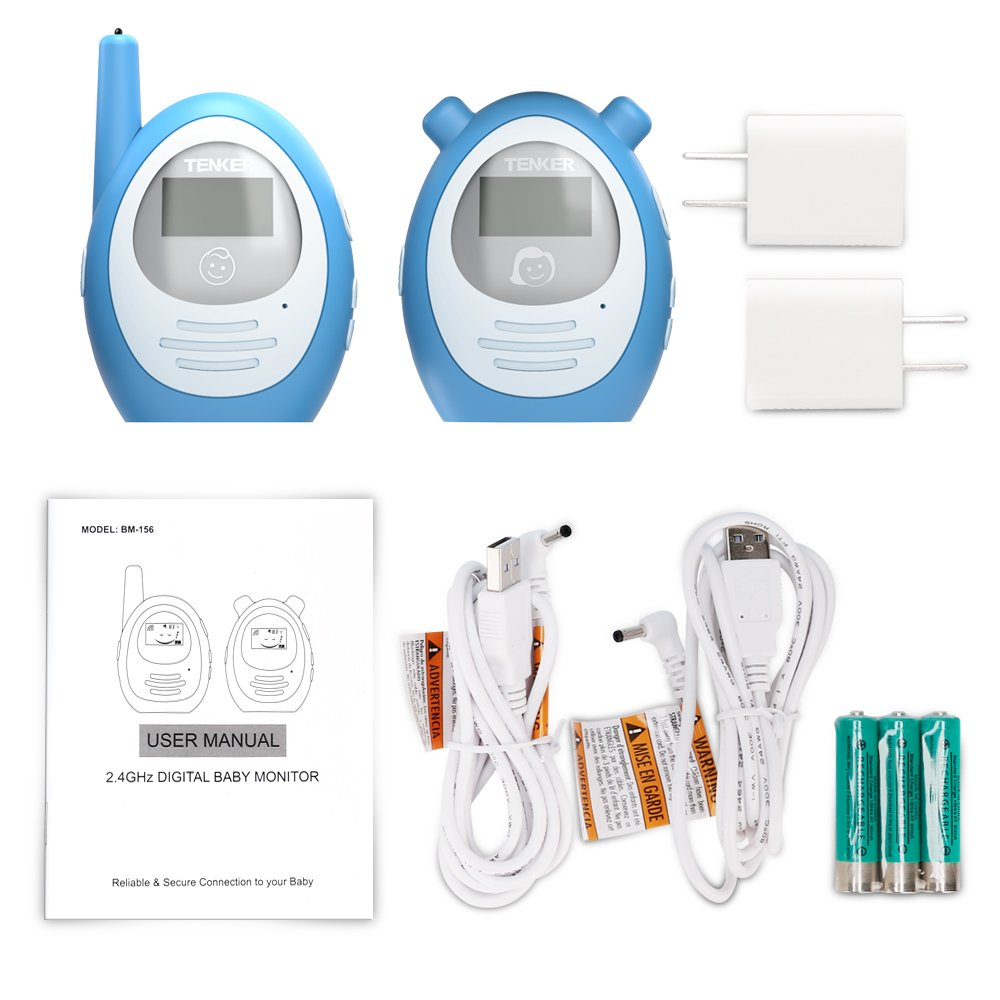 TENKER Two-way Baby Audio Monitor with Temprature Sensor and Power Save Mode, Digital Talk-back Intercom System for up to 1,000ft Extended Range, Always Connected to Your Baby