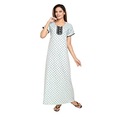 fda21692c8 Eazy Women s Front Open Cotton Nighty Gown Nightwear Roomwear Round Neck