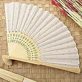 96 White w/ Gold Dot Silk Folding Fan Favors
