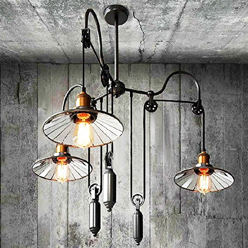 D3 Light Pendant (Loft Vintage Countryside Amercian Industrial Style Pully Chandelier Lamp for the Bedroom / Canteen / Bar Decorate Adjustable Pendant lighting Fixture)