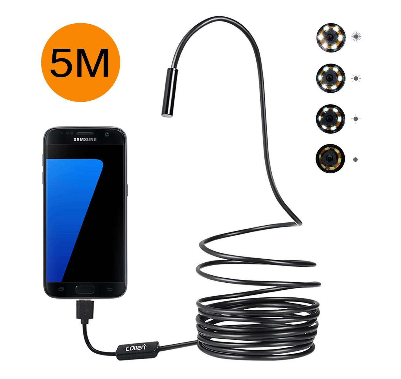 Endoscope Android, Collen Endoscopique Camé ra USB 2 Dans 1 HD 720P 5M Câ ble Semi Rigide, d'Inspection Borescope Etanche 8mm 8 LED 2.0 Mé gapixels pour Smartphone Samsung Tablette et Windows