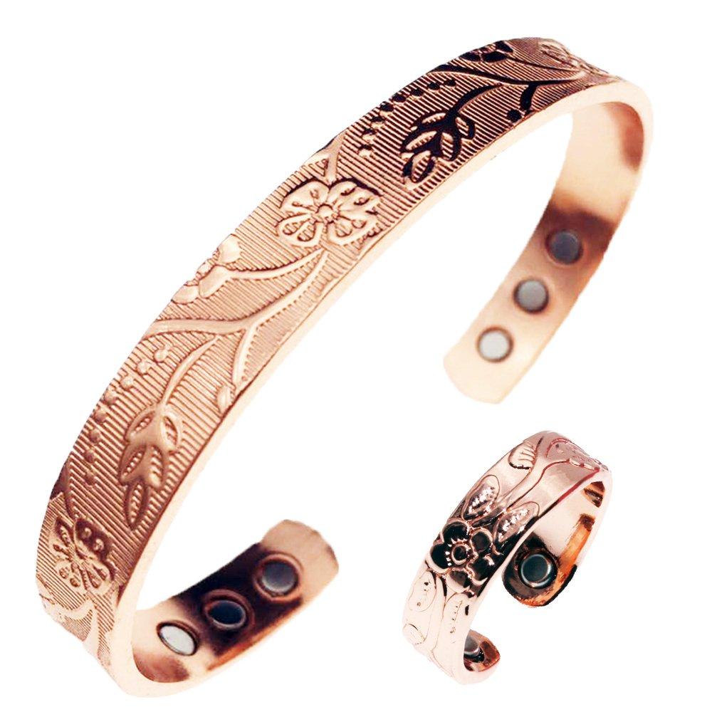 Pure Copper Magnetic Ring & Bracelet for Arthritis Relief,Women by LONGRN