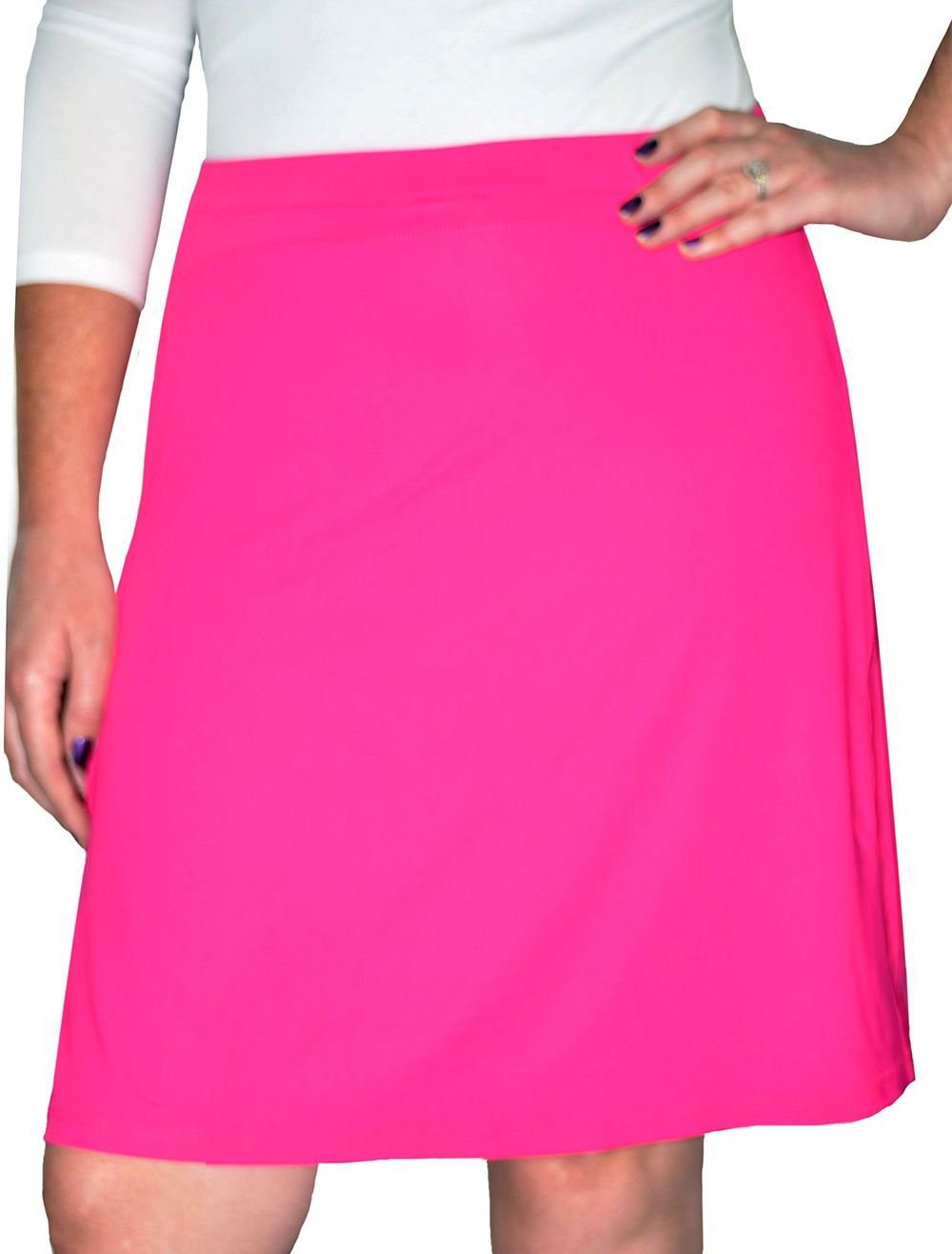 Kosher Casual Women's Modest Knee-Length Swim & Sport Skirt with Built-in Shorts - Skort Style XXL Pink