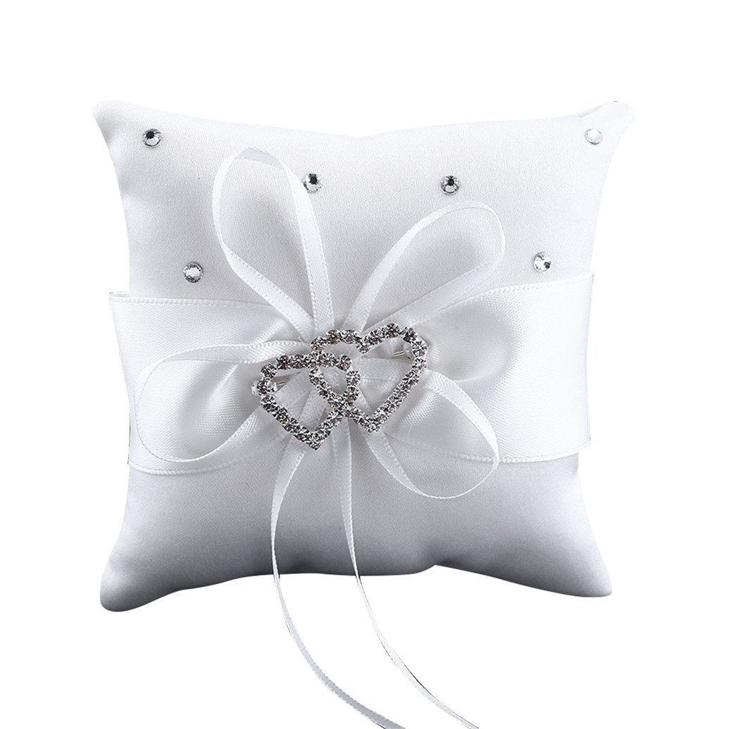 Westeng Cojín para anillos de boda almohada portador double-heart con lazo y anillos anillos de boda decoración 10 x 10 cm, raso, Blanco, mediano Wedding
