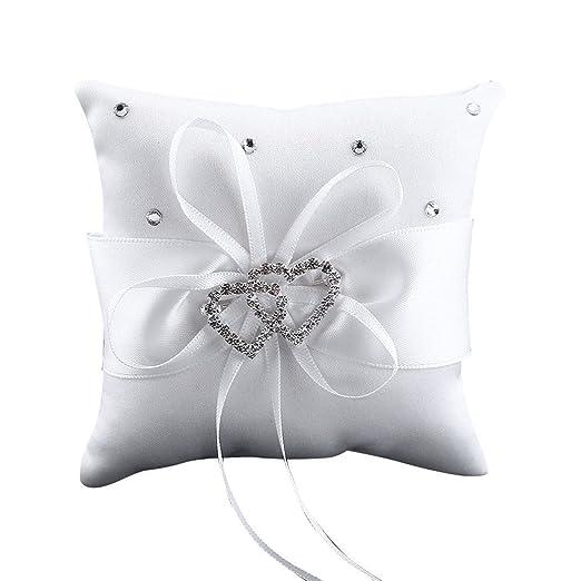 Westeng Cojín para anillos de boda almohada portador double-heart con lazo y anillos anillos de boda decoración 10 x 10 cm, raso, Blanco, mediano