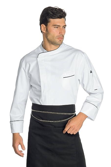 isacco Chaqueta de cocinero modelo wimbledon Blanco + Negro, Color ...