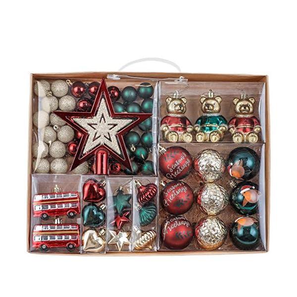 Valery Madelyn Palle di Natale 70 Pezzi di Palline di Natale, 3-10 cm di Strada di Campagna Rosso Verde e Oro Infrangibile Ornamenti di Palla di Natale 1 spesavip