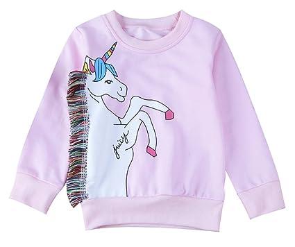 15f71bf4d Amazon.com  stylesilove Baby Girls Fringed Unicorn Long Sleeve ...