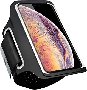 Running Armband Cell Phone Holder for iPhone SE (8/7/6/6S/5/4) Galaxy S (7/6/6Edge/5), Arm Band for Sports Workout Jogging Walking Hiking (Black+Extender Strap, (5'')