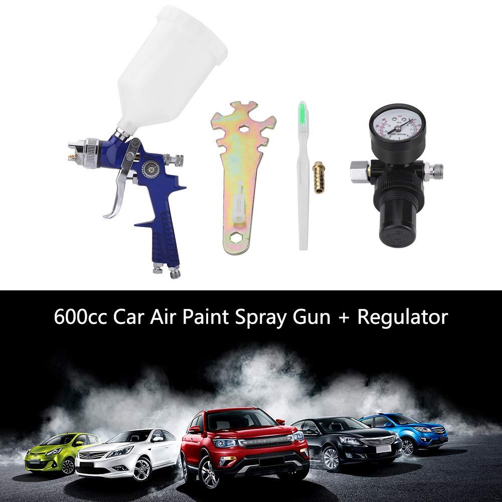 lacado para pintar pistola de pulverizaci/ón de pintura de aire HVLP con alimentaci/ón por gravedad de boquilla 600 cc de 1.4 mm barnizar con regulador Pistola de pulverizaci/ón