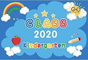 YongFoto 7x5ft Kindergarten Class of 2020 Backdrop Cartoon Cute Rainbow Apple Clouds Sun Kindergarten Graduation Photography Background Kids Children Graduate Party Decor Banner Classroom Wallpaper