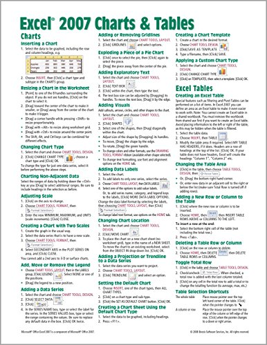 Microsoft Excel 2007 Charts & Tables Quick Reference Guide (Cheat Sheet of Instructions, Tips & Shortcuts - Laminated -