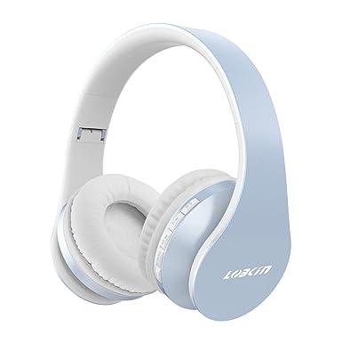 Lobkin Auriculares Bluetooth sobre la oreja, auriculares plegables con suaves almohadillas, micrófono integrado y
