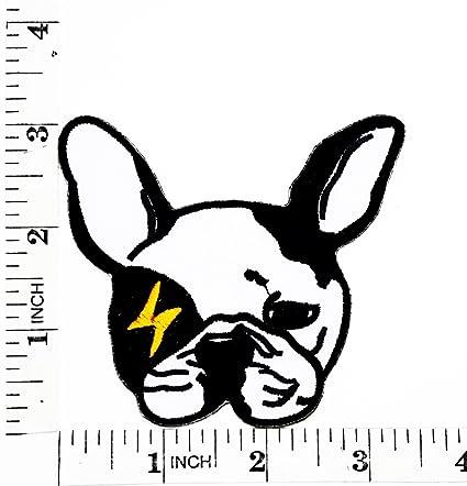 Francés Bulldog perro Cartoon Patch Iron-On bordado a mano y coser símbolo chaqueta camiseta