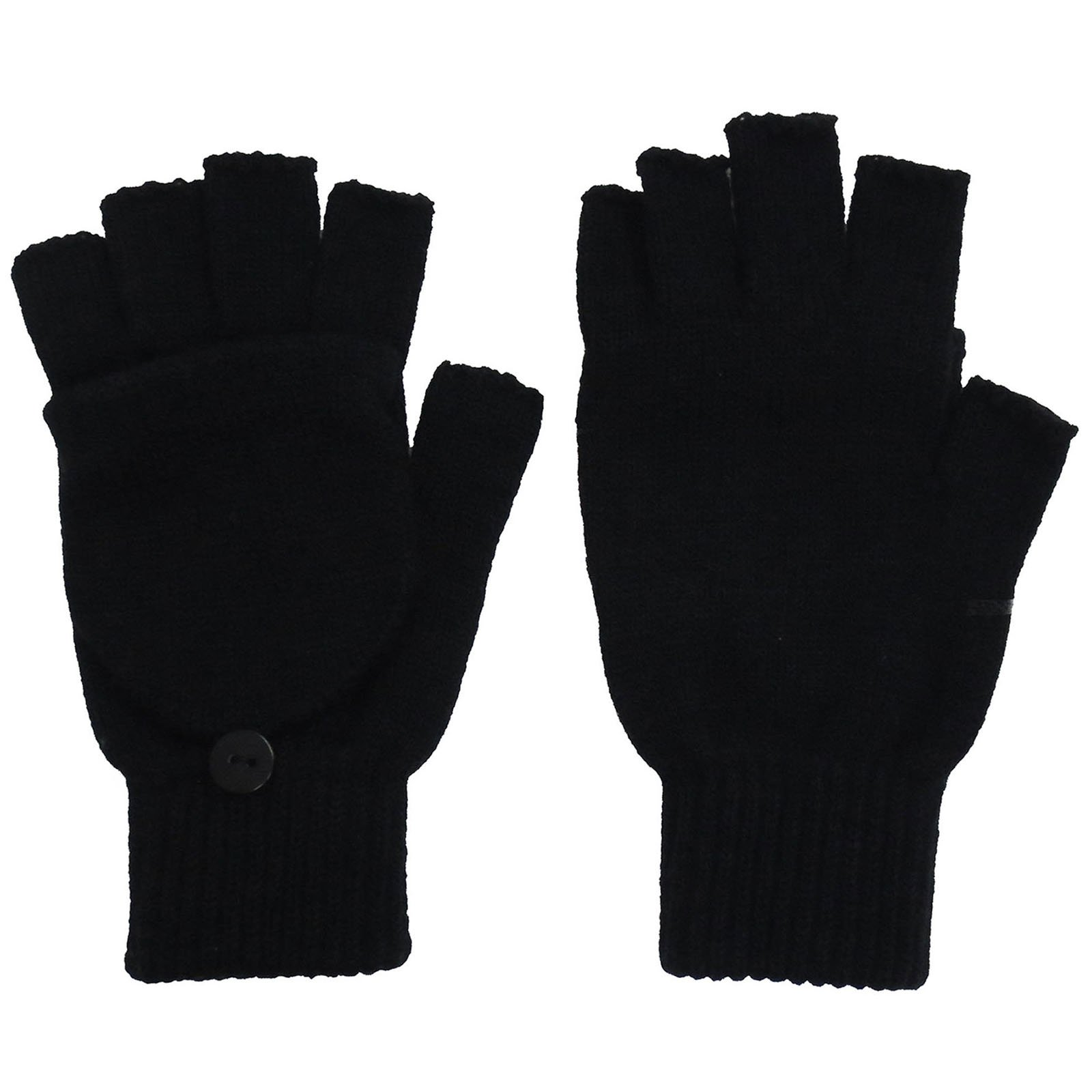 Men's Solid Basic Fingerless Knitted Gloves w/Convertible Mittens, Black