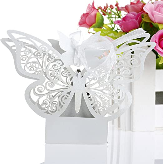 20x White butterfly laser cut cupcake wrappers wedding party favour decoration