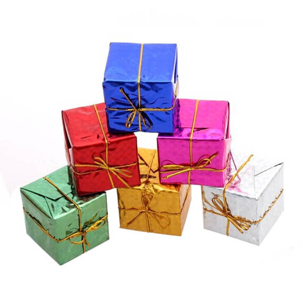Hennta 12PC/Set Gift Boxes Assorted Colors Miniature Foil Fashion Christmas Tree Ornaments Decoration Merry Mini Christmas Xmas Home Table Party Decor