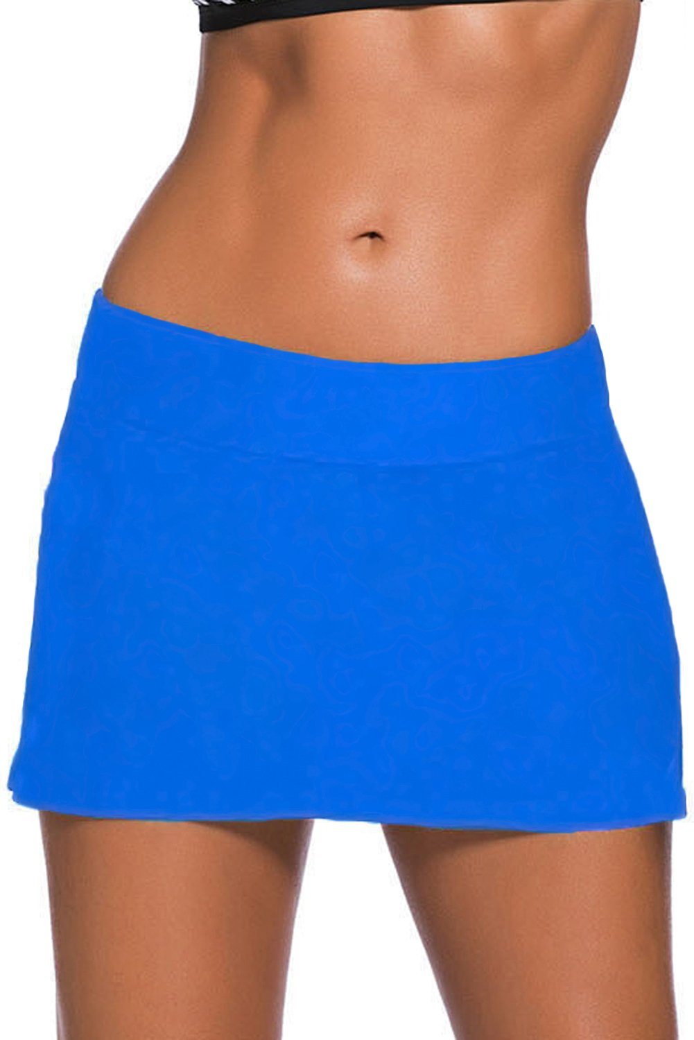 FuYang Womens Solid Elastic Swim Shorts, Skirted Bikini Bottoms Shorts with Brief Swimsuit Boardshorts (S-XXXXL)