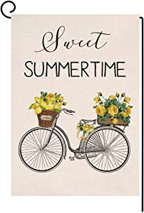Lemon Bicycle Sweet Summer Time Small Garden Flag Vertical Double Sided Spring Farmhouse Burlap Yard Outdoor Decor 12.5 x 18 Inches (110496)