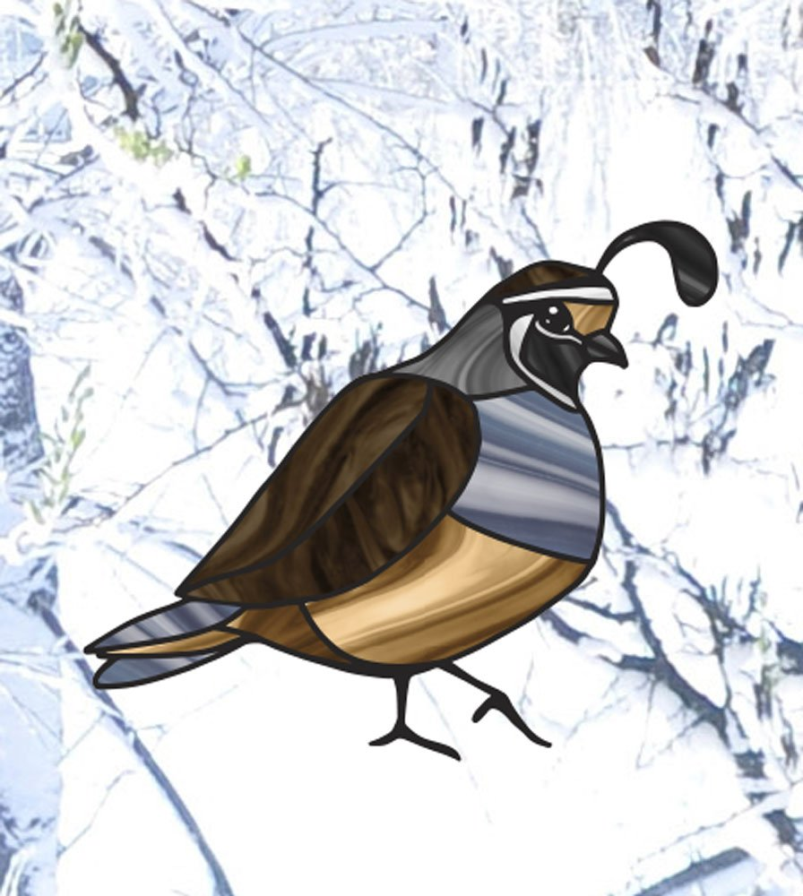 Variations Available Copyright 2015 Yadda-Yadda Design Co. Stained Glass Style See-Through Vinyl Window Decal Bird SM 3w x 2.5h Quail