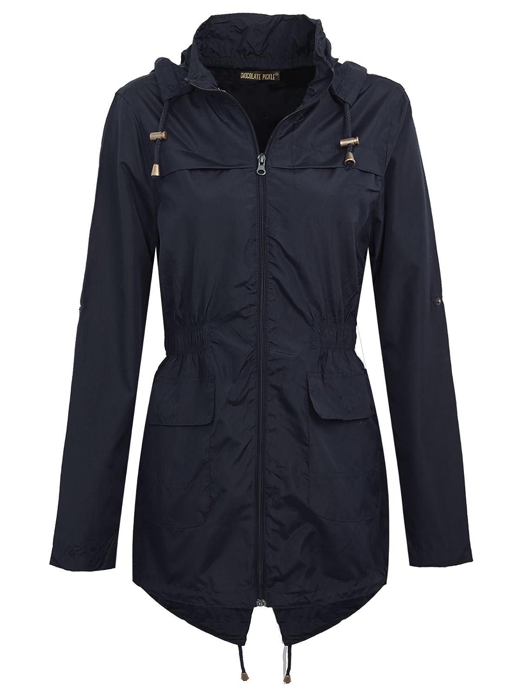 Chocolate Pickle Womens Plus Size Waterproof Raincoats Fishtail Parka Jacket CA_854_FZ