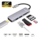 Topoint USB C HUB HDMI 4K, Type C Hub Macbook Pro Adatper with HDMI Output, 2 USB 3.0 Ports, TF/SD Card Reader for USB C Devices -Grey