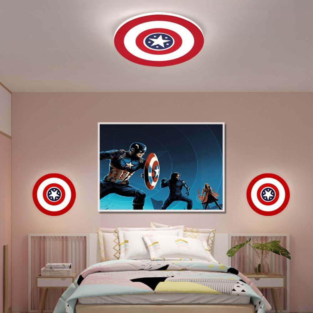 Captain America Deckenleuchte LED Creative Deckenleuchte Wandlampe Dimmbar mit Fernbedienung Metall Acryl Lampenschirm Kinderzimmer Schlafzimmer Kindergarten dekorative Beleuchtung,24WØ42CM 12wø23cm