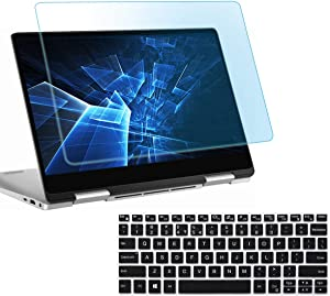"""AntiBlueLight Anti Glare Screen Protector Fit Dell XPS 13 9365 9370 13.3"""" Touch-Screen Laptop with Gift Keyboard Cover, Eyes Protection Filter Block UV and Reduce Fingerprint"""