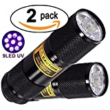 Bright Eyes 2-PACK - Best Black Light - Top UV Pet Urine Stain Detector - Head Lice or Bed Bug Revealer (Aluminum, 9 LED)