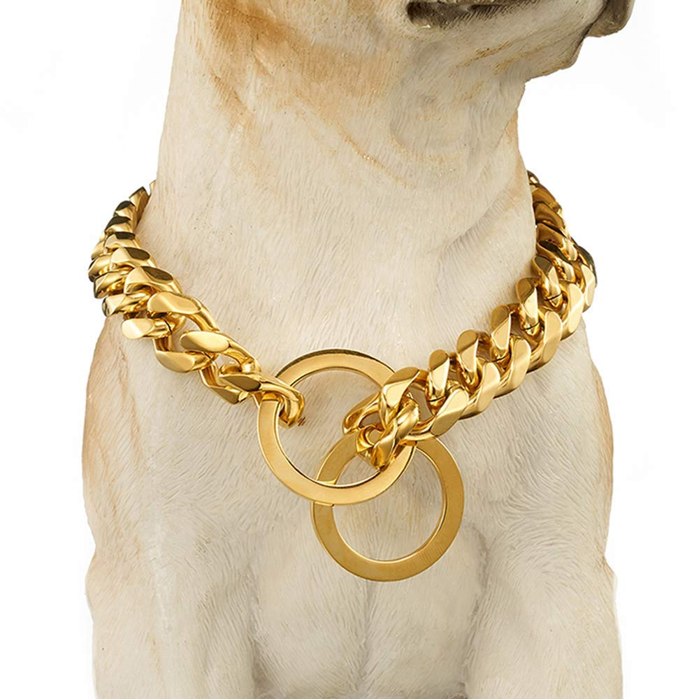 Abaxaca Dog Collar Large Stianless Steel 15mm 18K Gold Big Dog Cuban Link Collar Necklace Chain for dog 24 inch(16 inch, Gold)