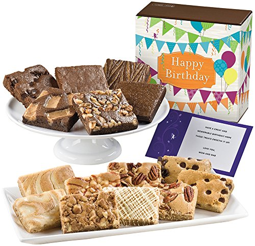 Fairytale Brownies Birthday Bar & Brownie Combo Gourmet Food Gift Basket Chocolate Box - 3 Inch Square Full-Size Brownies and 3 Inch x 2 Inch Blondie Bars - 15 Pieces by Fairytale Brownies