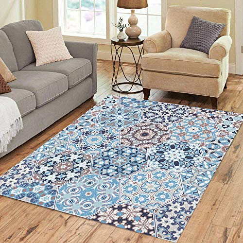 Semtomn Area Rug 2' X 3' Rich of Hexagonal Ceramic Tiles in Shades Blue Home Decor Collection Floor Rugs Carpet for Living Room Bedroom Dining Room