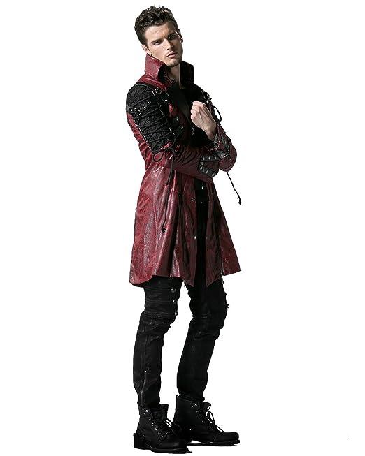... hombre de color rojo piel sintética de color negro perchero de pared de fangbanger Steampunk Diseño militar de pareja de: Amazon.es: Ropa y accesorios