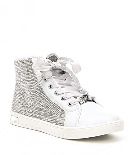 ebf21e9da54e9 Image Unavailable. Image not available for. Color  Michael Kors Kids Ollie  Bright White Silver Sneakers 5M