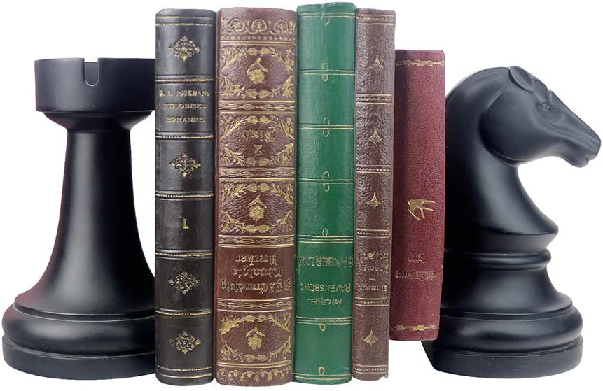 jinhuoba Decorative Bookends, Unique Book Ends - Supports for Heavy Books, Home Decor Suitable for Office, Home, 6.7x4.1x3.5inch, Black,1Pair/2Piece (Chess bookend)