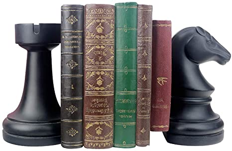 Amazon Com Decorative Bookends Unique Book Ends Supports For Heavy Books Home Decor Suitable For Office Home 7 L X4 W X7 H Inch Black 1pair 2piece Chess Bookend Kitchen Dining