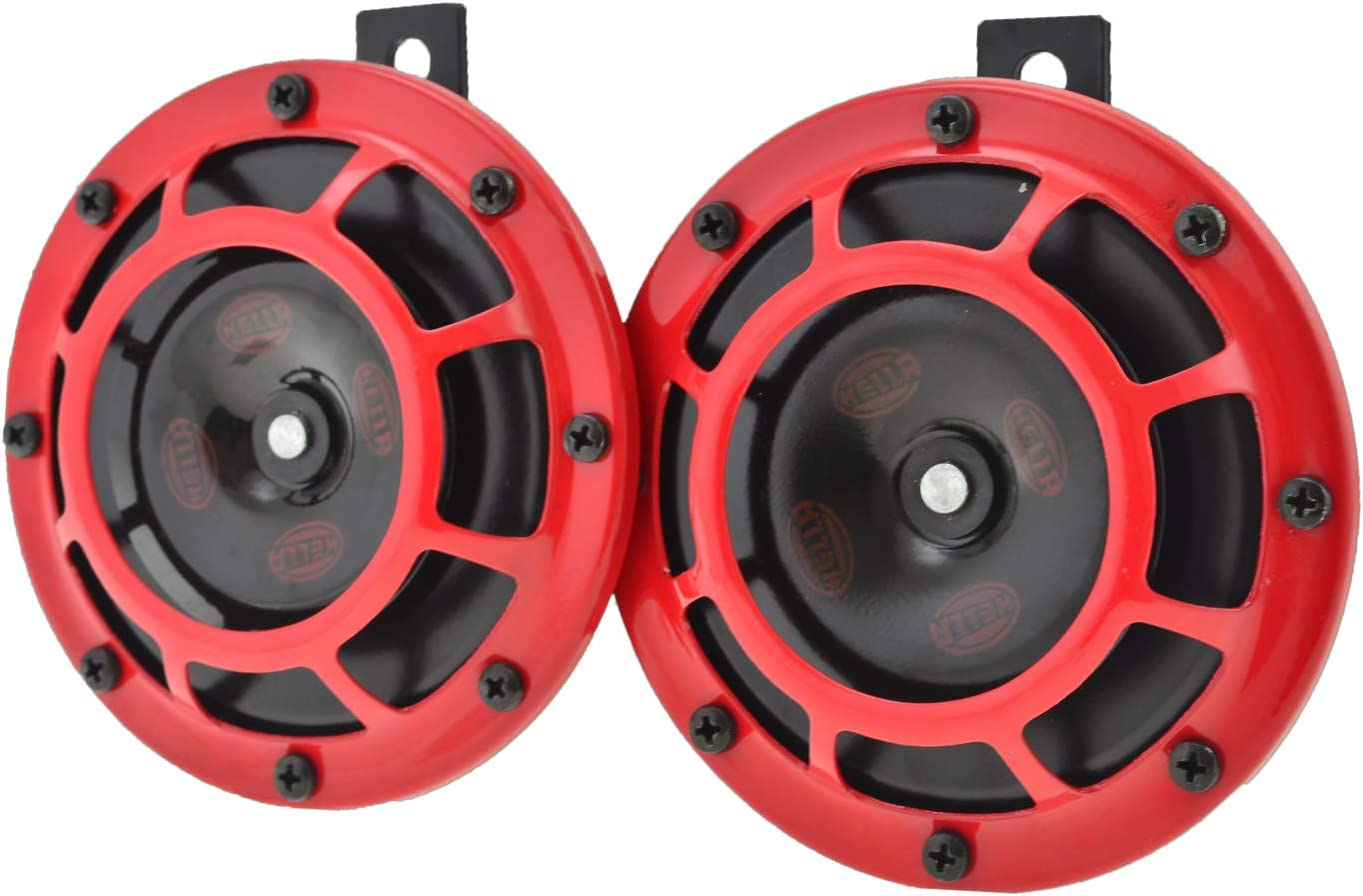 amazon com air horns horns \u0026 accessories automotivehella 003399801 supertone 12v high tone low tone twin horn kit with red protective grill