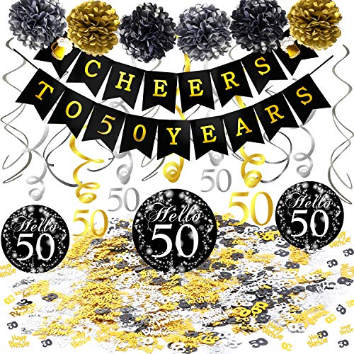 Konsait 50th Birthday Decoration Kit, Cheers to 50 Birthday Banner Swallowtail Bunting Garland Sparkling 50 Hanging Swirls, Tissue Paper Pom Poms, Table Confetti (1.05oz) for Party Favors Supplies]()