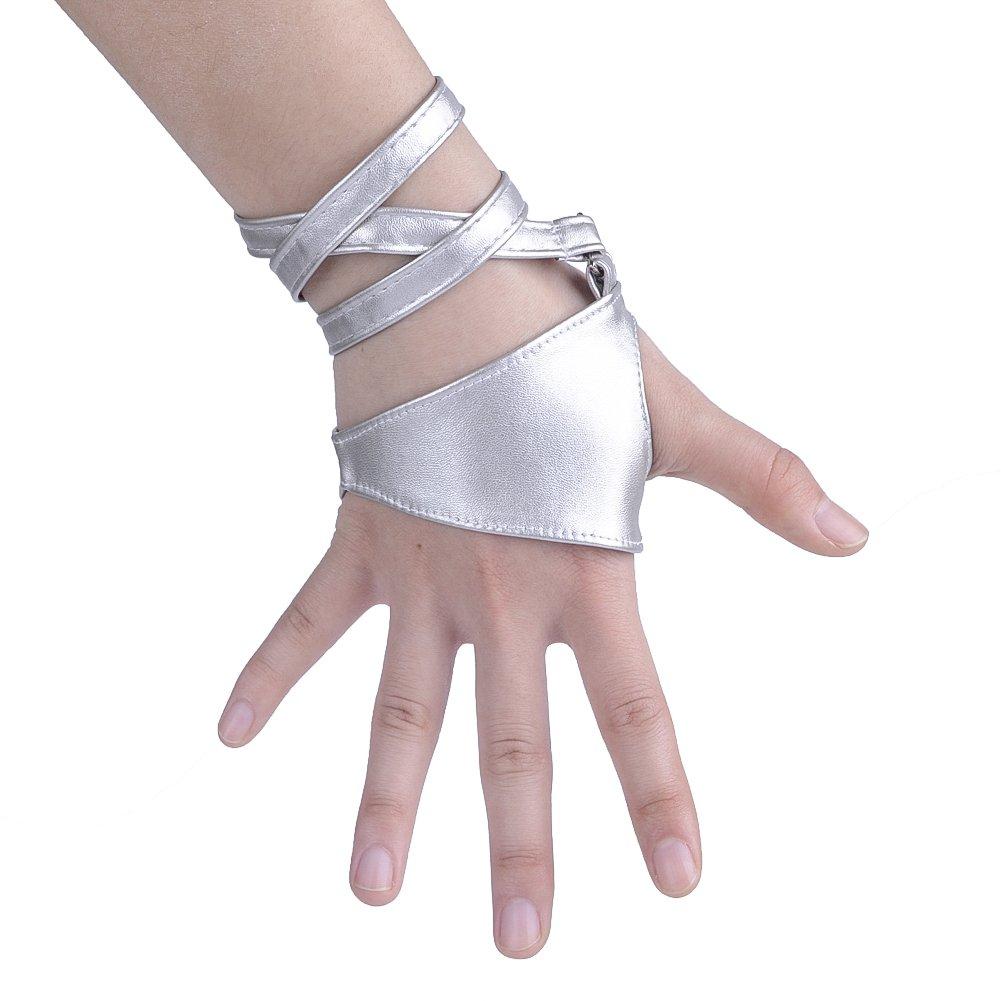 JISEN Women Half Palm Fingerless PU Leather Night Bar Band Up Punk Gloves Silver