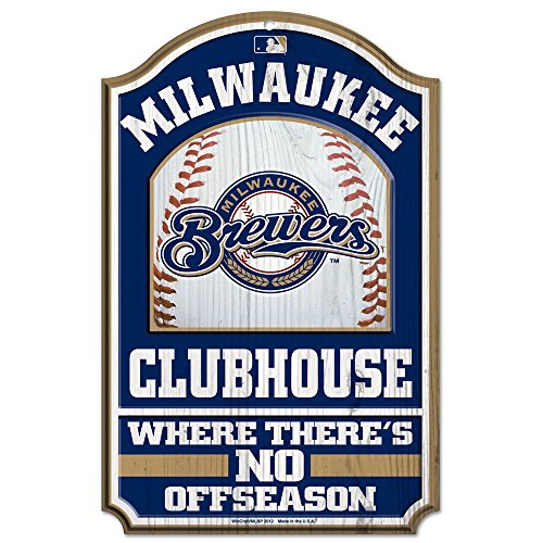 "Wincraft MLB Milwaukee Brewers 28660012 Wood Sign, 11"" x 17"", Black"
